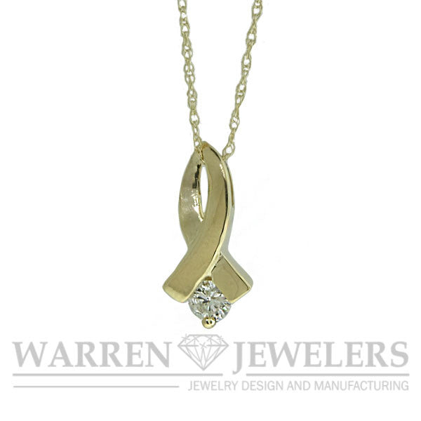 Diamond Ribbon Pendant Necklace Yellow Gold 1/5ct