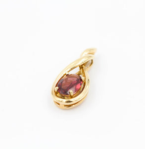 Garnet Oval Pendant Necklace 14K Yellow Gold