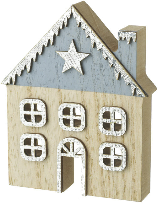 Blue Wooden Christmas House