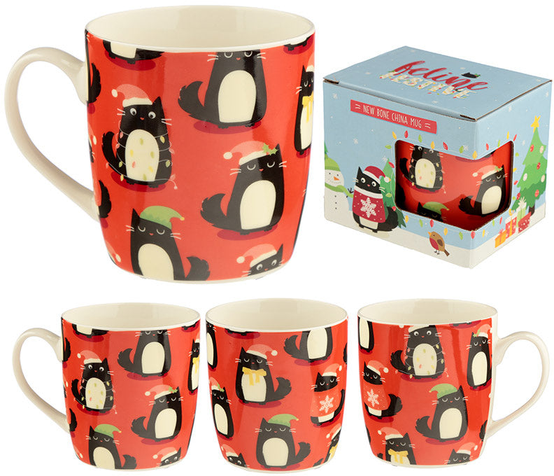 Cat/Feline Fine China Christmas Mug