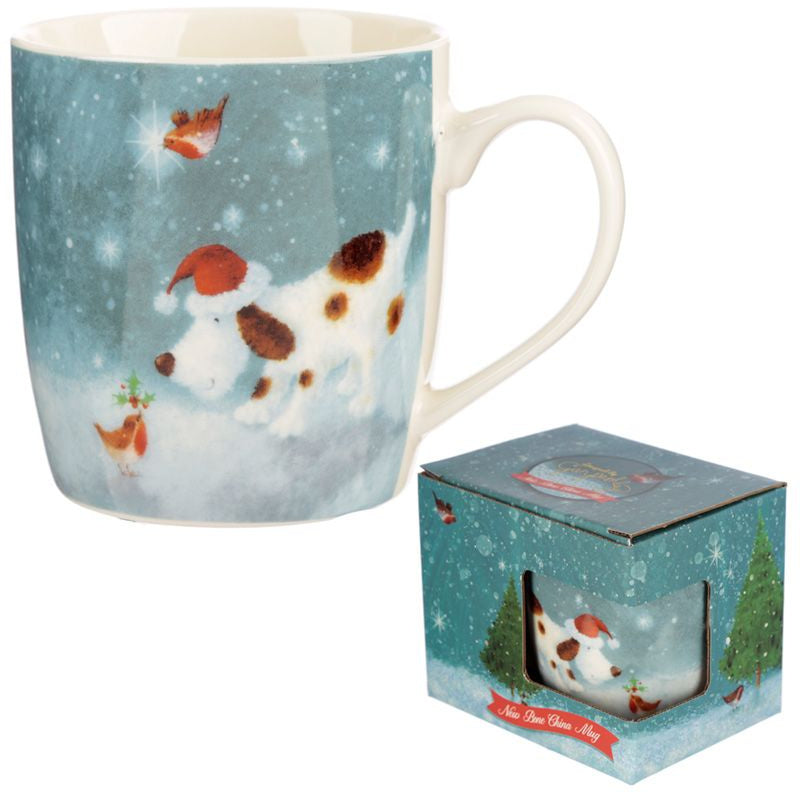 Christmas Dog & Robin Mug
