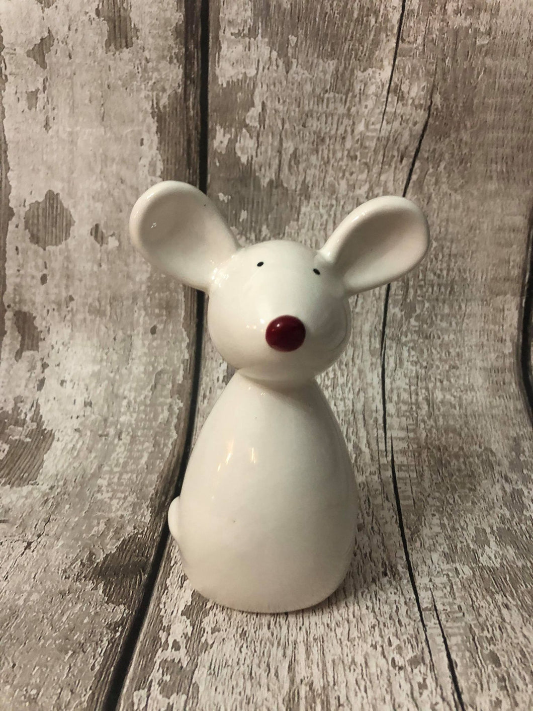 Ceramic White Mouse Decoration 14cm