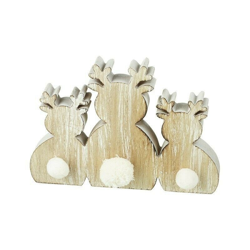 Rustic Wooden Christmas Decoration 3 Sitting Reindeer With Fluffy Tails