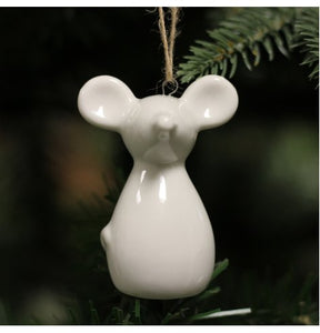 Hanging Ceramic White Mouse Tree Decoration 6.5cm