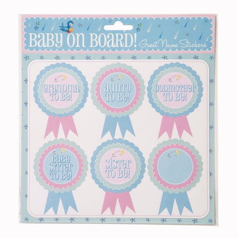 Baby On Board Guest Name Stickers pk18