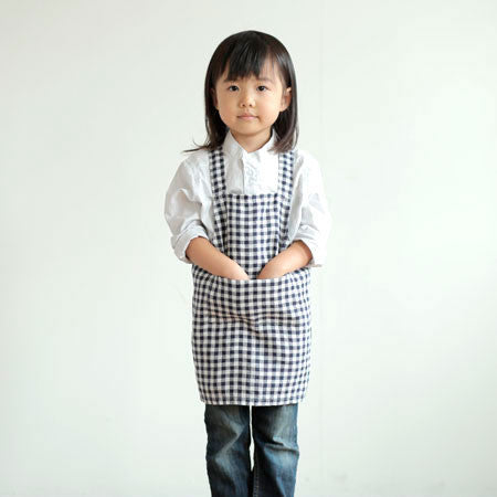 Kids Apron Black White Check