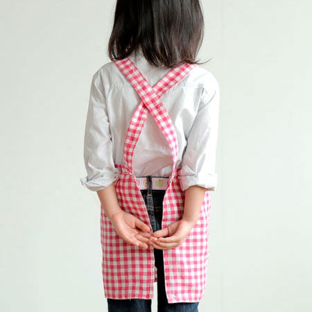 Kids Apron Pink White Check