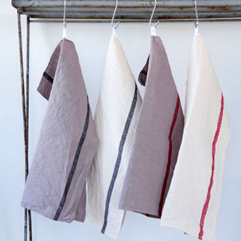 Thick Linen Kitchen Cloth White/Red