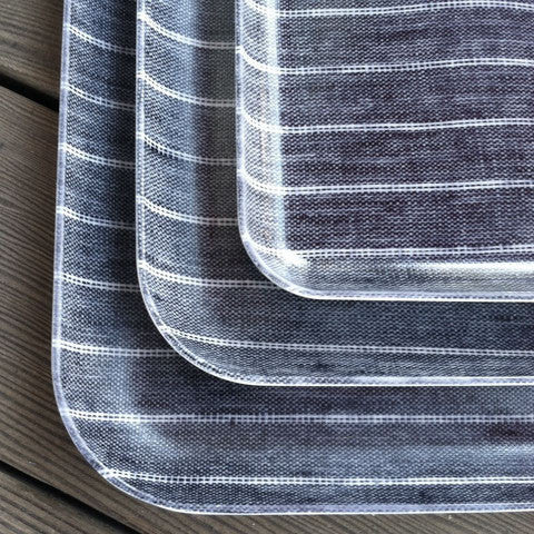 Linen Tray Navy White Stripe