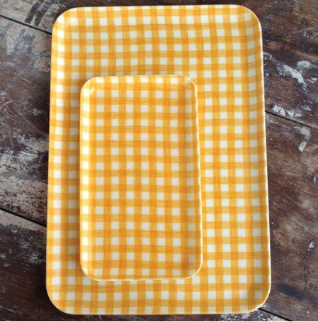 Linen Tray Yellow Check
