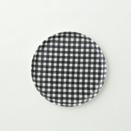 Linen Tray Round Navy White Check