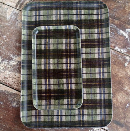 Linen Tray Green Plaid