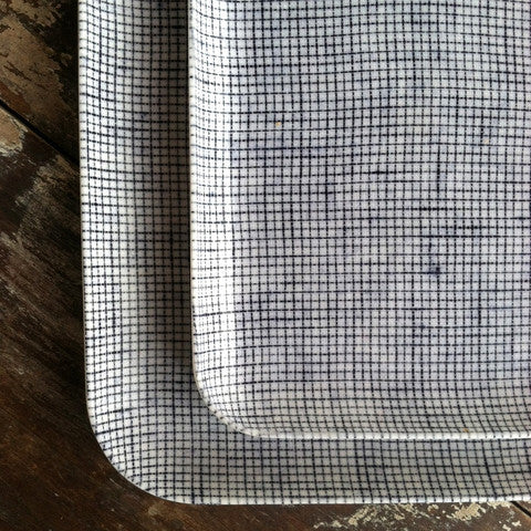 Linen Tray Blue White Plaid