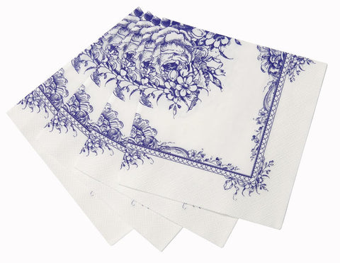 Party Porcelain Blue Napkin 33cm 20pk