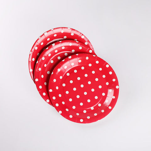 Round Paper Plate Red