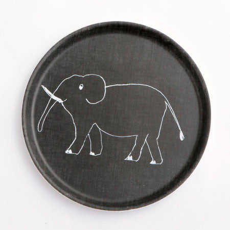 Kids Tray Round Elephant Black