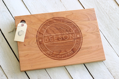 Personalized Split Circle Cutting Board - Name and Date