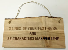 "Personalized Maple Live Edge Wall Hanging 6-8"" x 13"""
