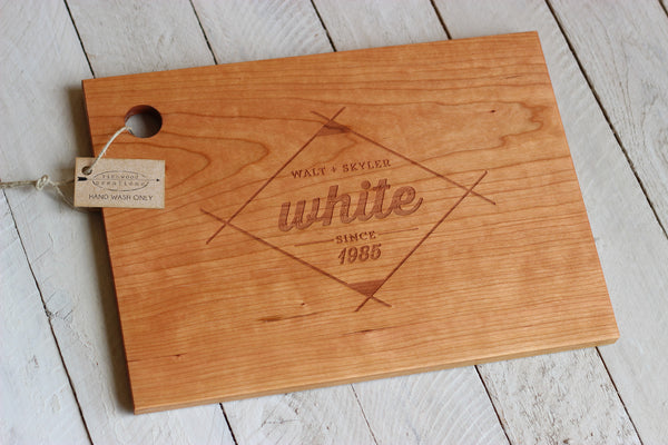 Personalized Diamond Cutting Board - Name and Date