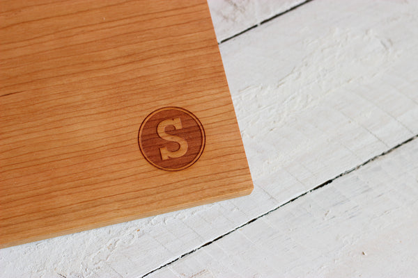 Personalized Circle Stamp Monogram Cutting Board