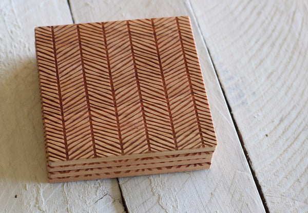 Herringbone Pattern Set of 4 Coasters