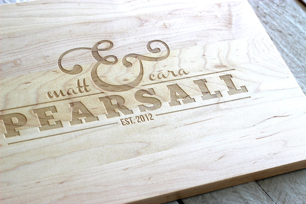 Personalized Ampersand Cutting Board - Name and Date