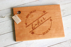 Personalized Arrow Circle Cutting Board - Names and Date