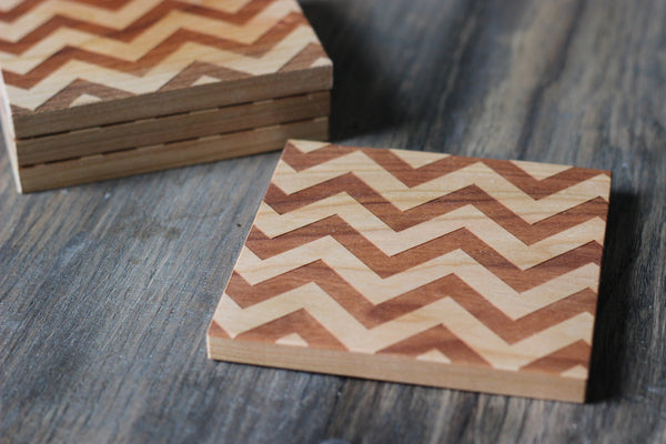 Chevron Pattern Set of 4 Coasters