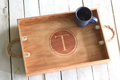 Personalized Circle Monogram Serving Tray - Initial