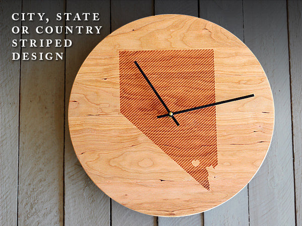 Wood Wall Clock - Custom City & State (or Country) Striped Design