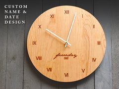 Wood Wall Clock - Custom Name & Date