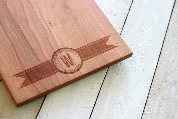 Modern Ribbon Banner Handle Cutting Board