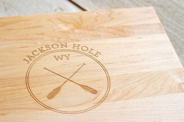 Personalized Oar Circle Cutting Board - City, State or Country