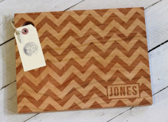 Personalized Chevron Cutting Board - Name