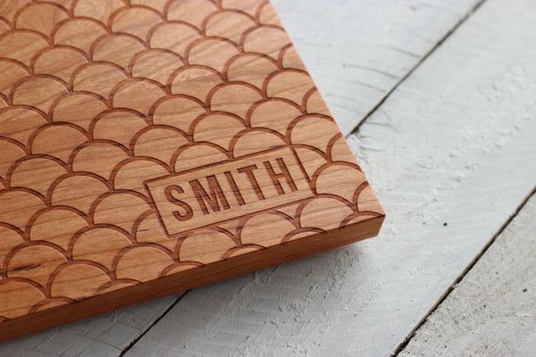 Personalized Scalloped Cutting Board - Name