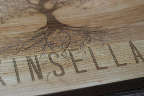 "9.5"" x 13"" Family Tree Personalized Name Cutting Board"