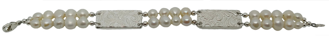 Fine silver and pearl bracelet