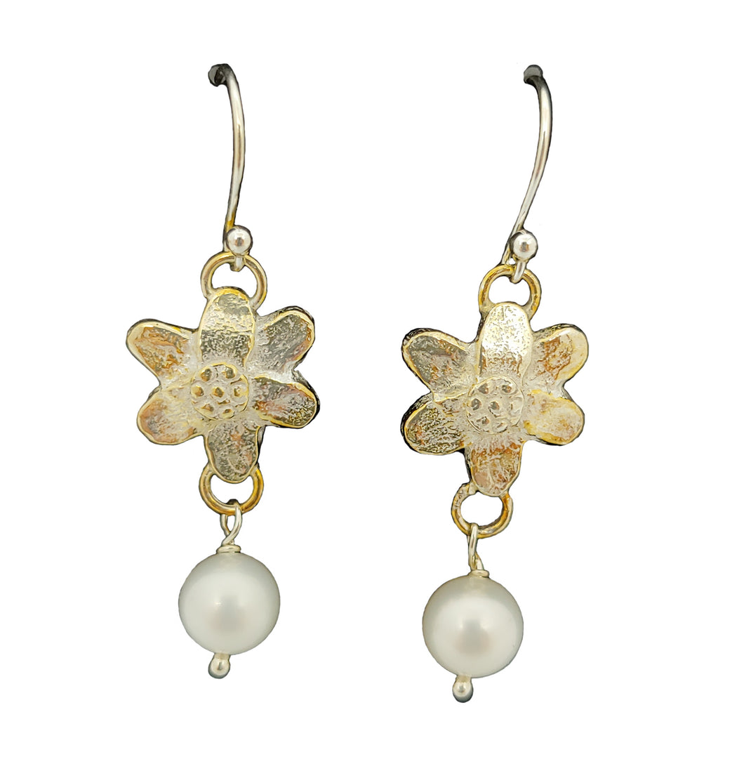 Anemone sterling and pearl earrings