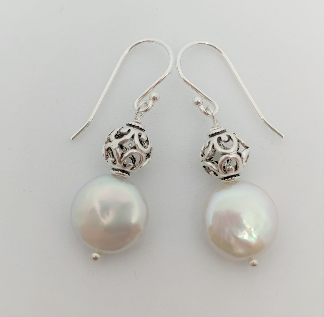 Coin Pearl earrings w/sterling ball