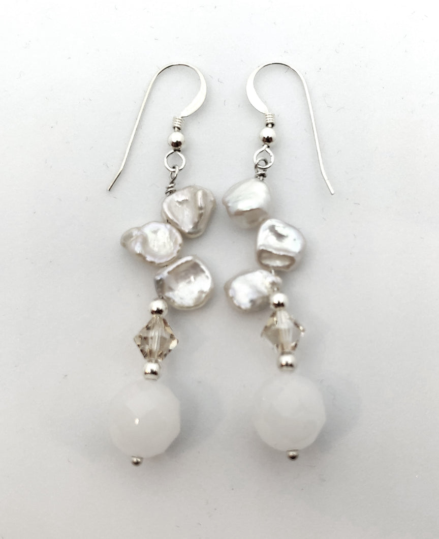 Earrings, keishi pearl, crystal and moonstone.
