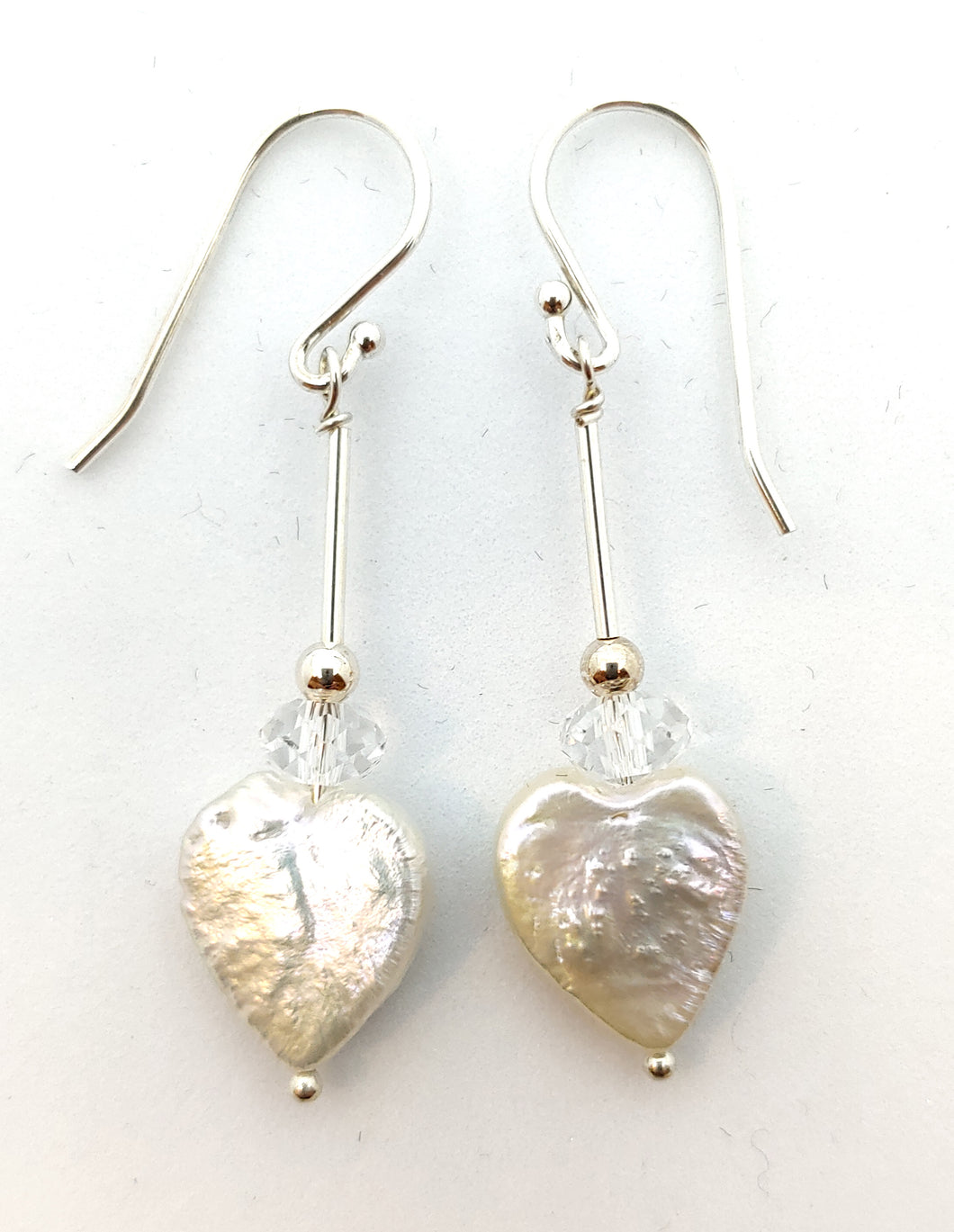 Pearl heart and crystal drop earrings