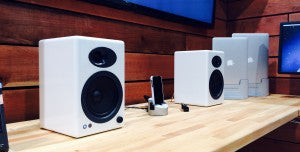 Audioengine A2+ speakers with Henge Docks Gravitas iPhone/iPad Dock