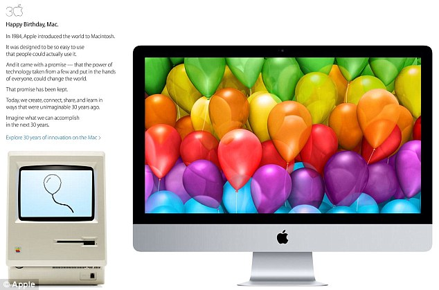 Screen shot of Apple's Mac 30 mini site. Original Macintosh is pictured left, with Mac's current form pictured right.