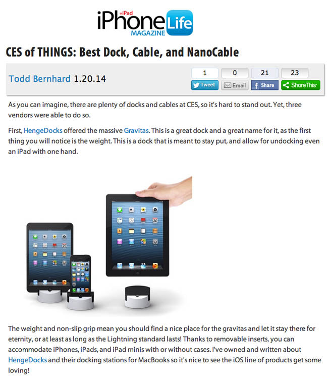 Gravitas featured in iPhone+iPad Life magazine.