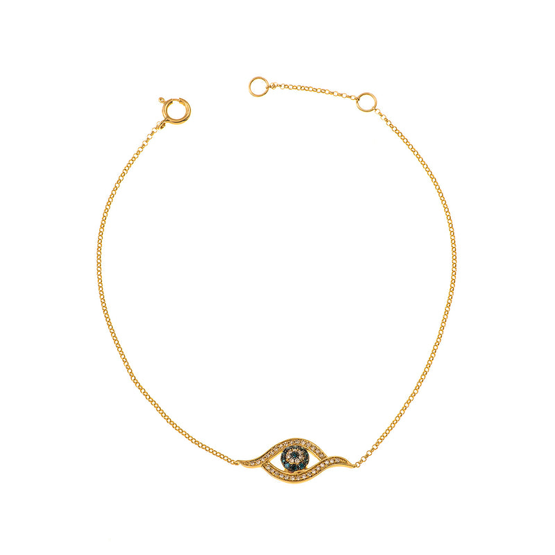 18K Gold bracelet with evil eye that combines white with blue diamonds