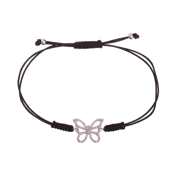 Diamond Butterfly Cord Bracelet