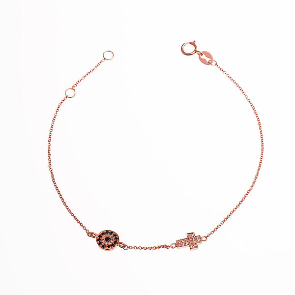 Diamond Cross Evil Eye Bracelet