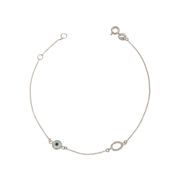 Oval Diamond and Eye Bracelet