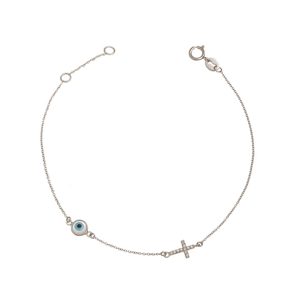 Diamond Cross and Evil Eye Bracelet