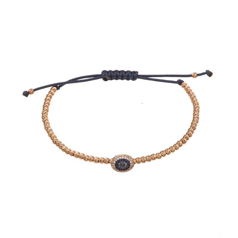 Gold Bead Evil Eye Bracelet